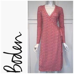 Boden Long Sleeve Printed V-Neck Wrap Dress, Pink